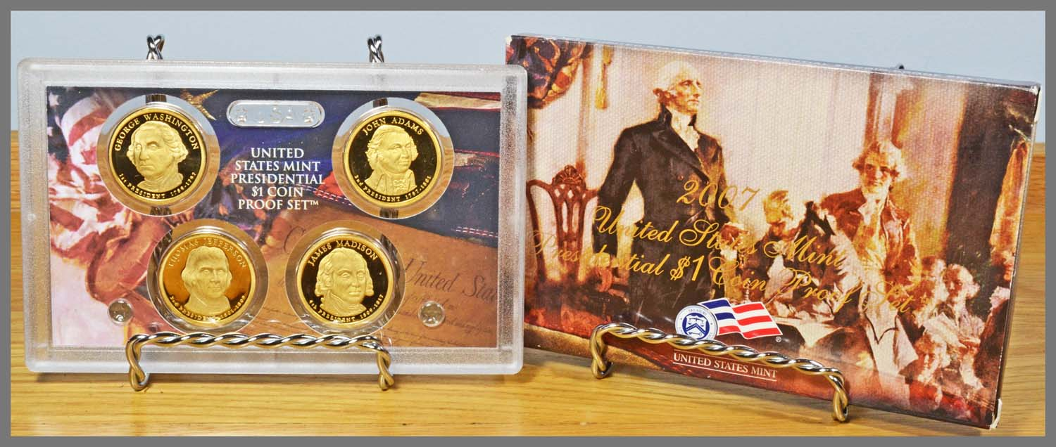 2007 4-Coin Presidential Proof Set and Package