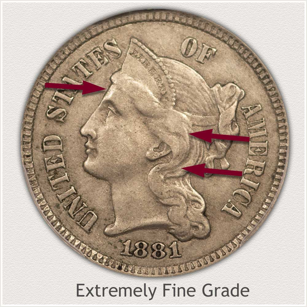 Obverse View: Extremely Fine Grade Three Cent Nickel