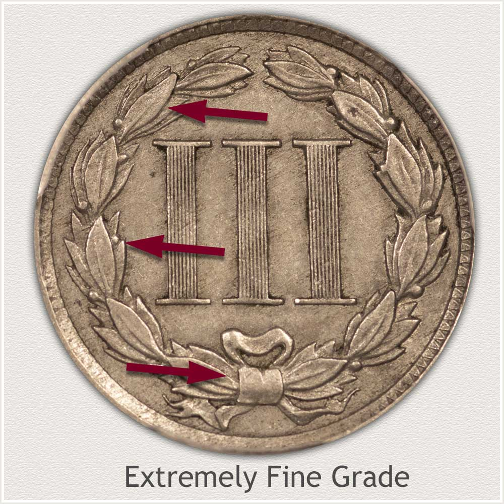Reverse View: Extremely Fine Grade Three Cent Nickel
