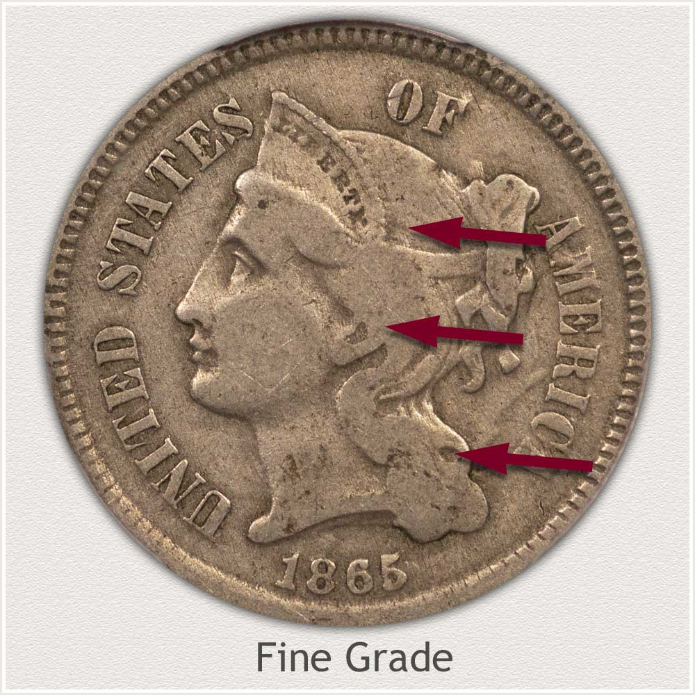 Obverse View: Fine Grade Three Cent Nickel