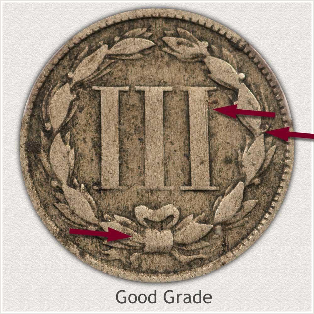 Reverse View: Good Grade Three Cent Nickel