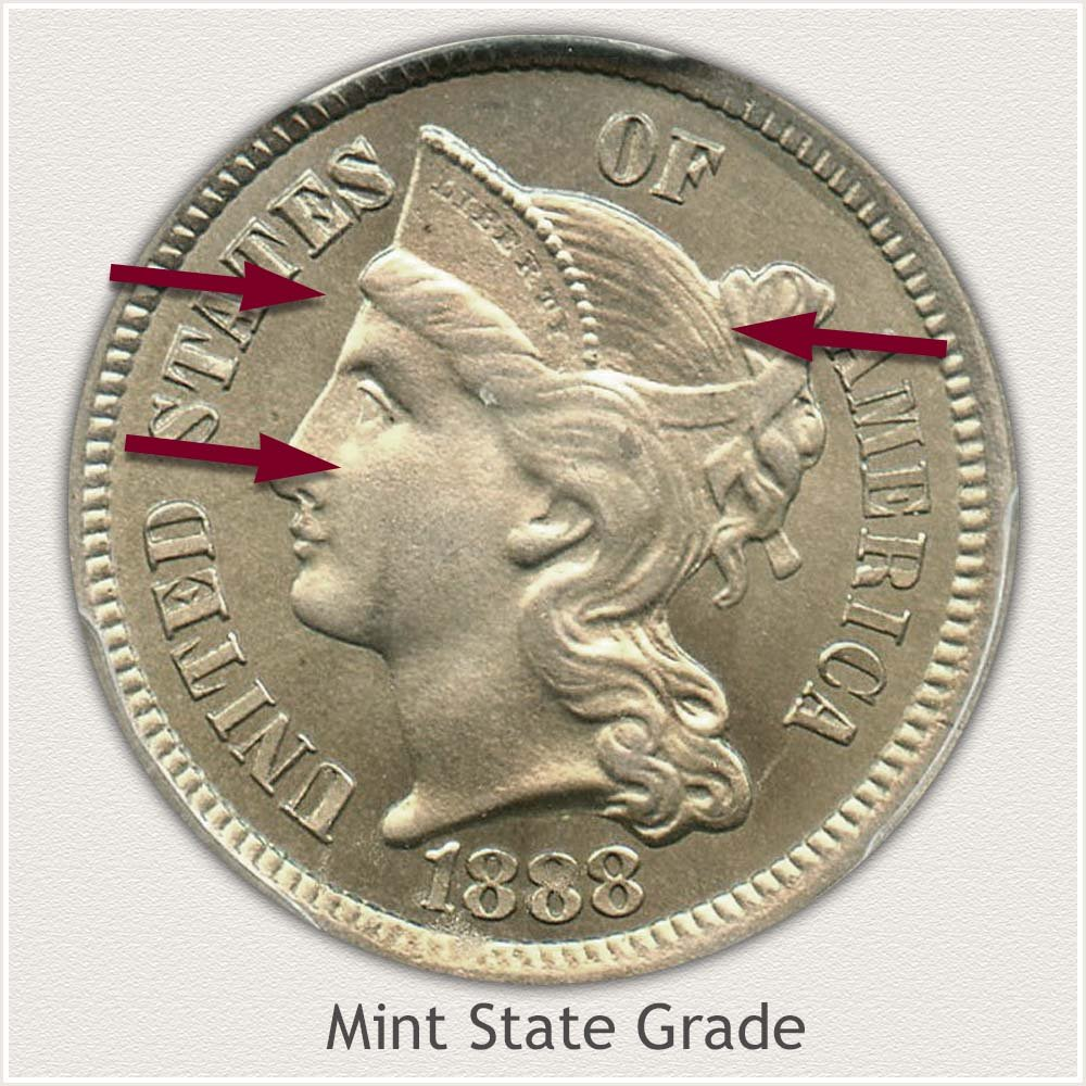 Obverse View: Mint State Grade Three Cent Nickel