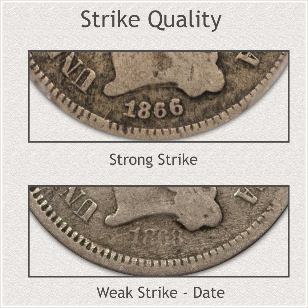 Areas of Soft Strike on Three Cent Nickels