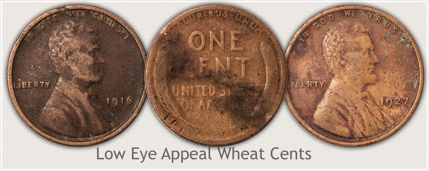 Three Low Condition and Appeal Wheat Pennies
