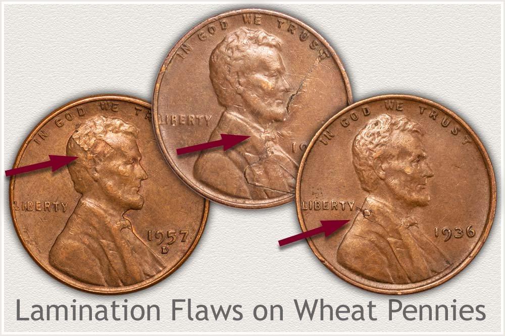 Lamination Flaws on Three Wheat Pennies