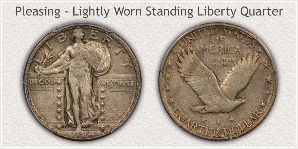 Lightly Worn Standing Liberty Quarter