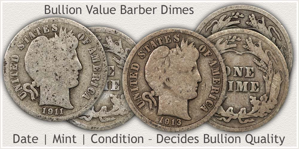 Bullion Quality Barber Dimes