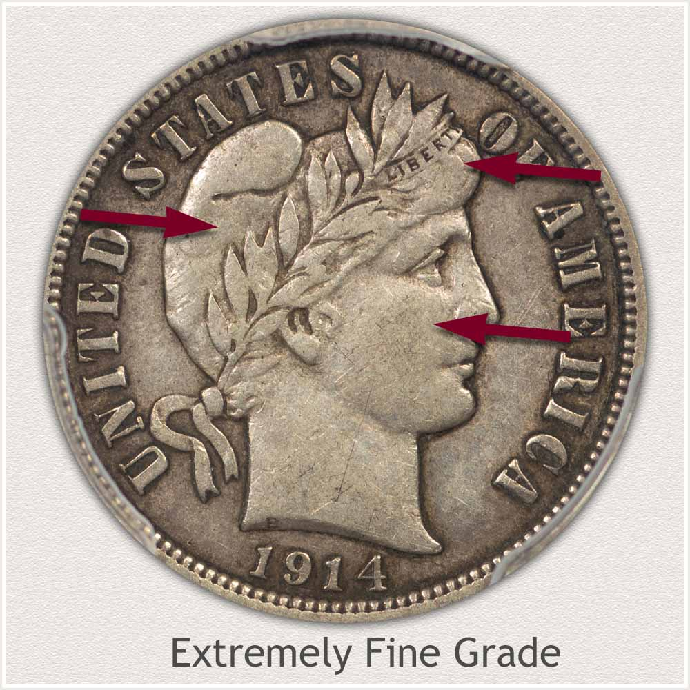 Obverse View: Extremely Fine Grade Barber Dime