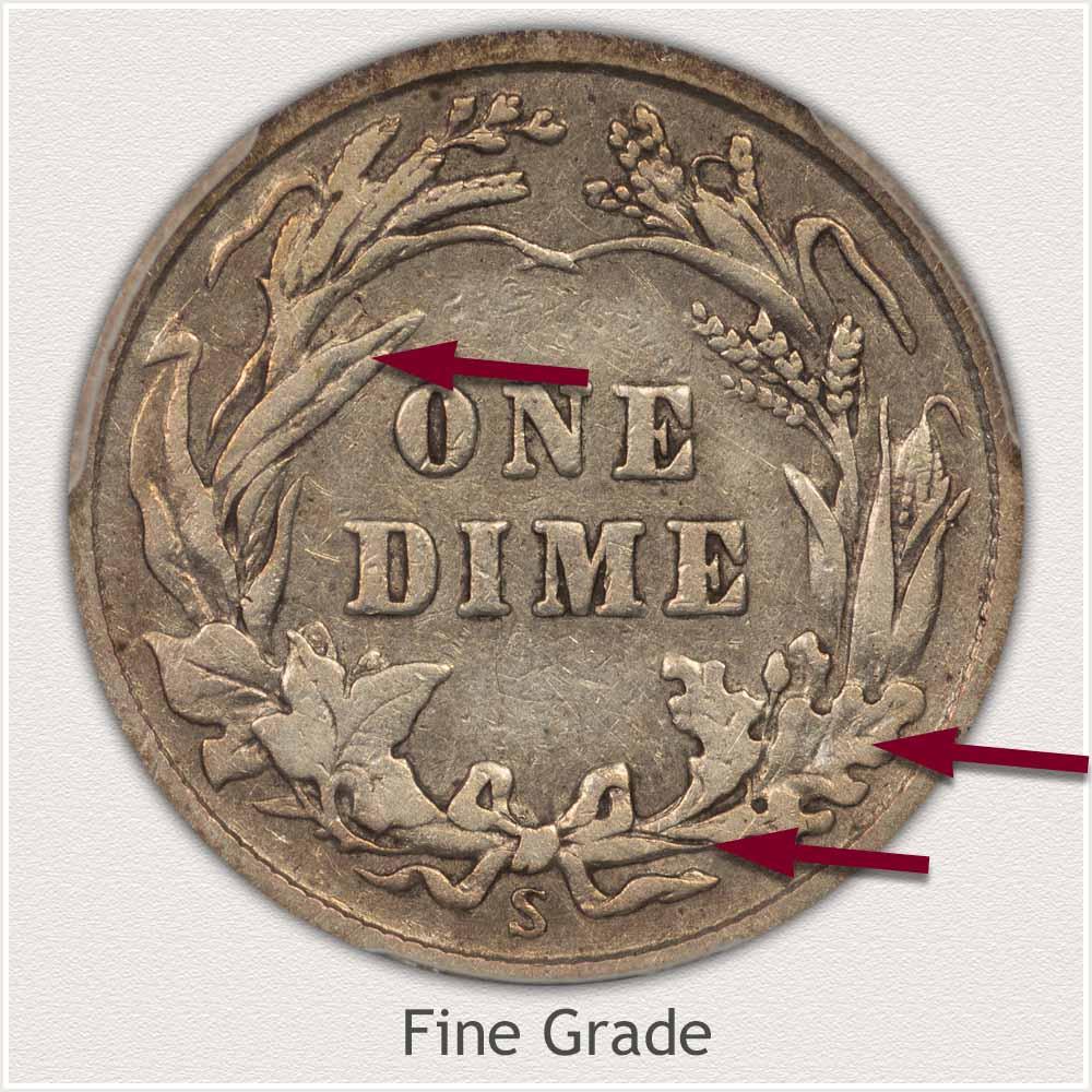 Reverse View: Fine Grade Barber Dime