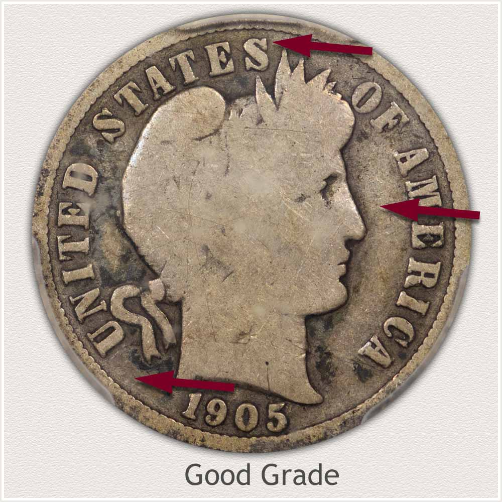Obverse View: Good Grade Barber Dime
