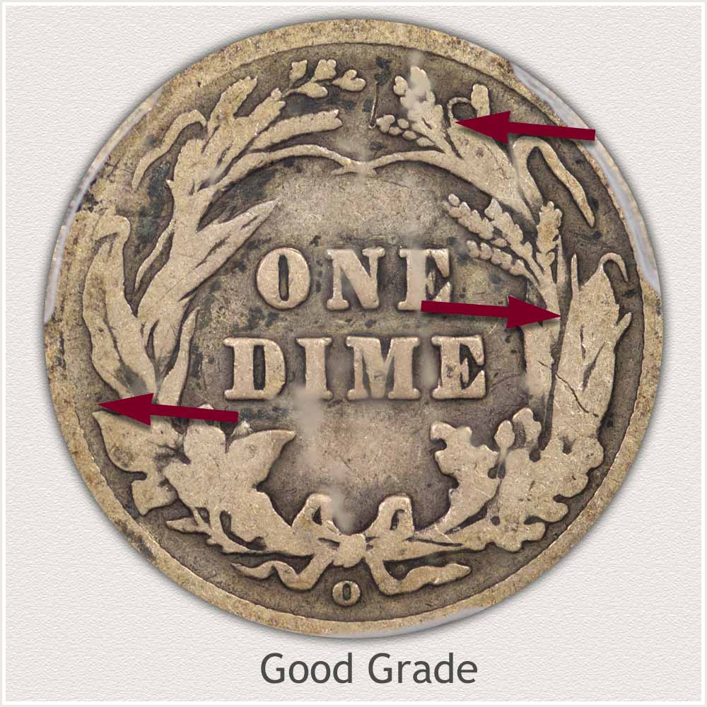 Reverse View: Good Grade Barber Dime