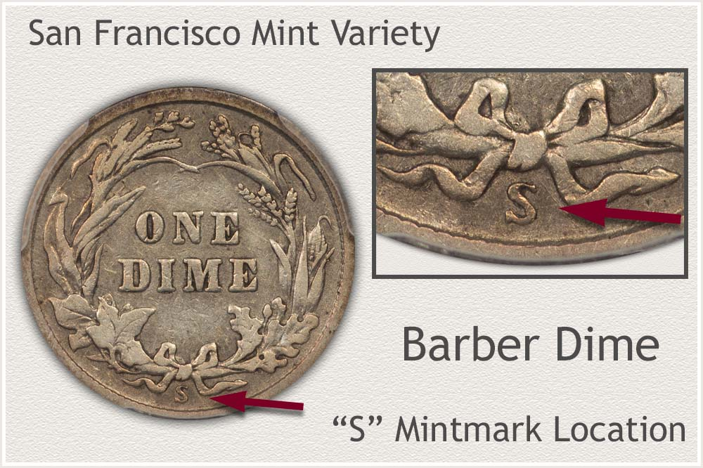 San Francisco Mint Barber Dime