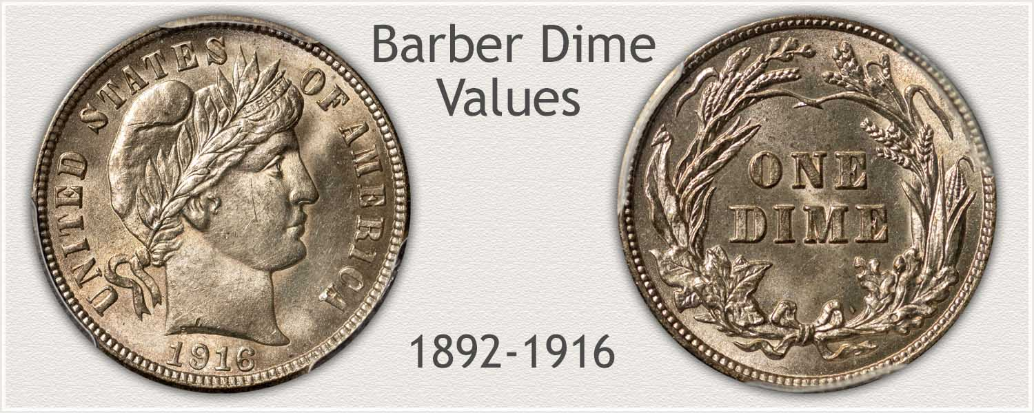 Barber Dime Obverse and Reverse View