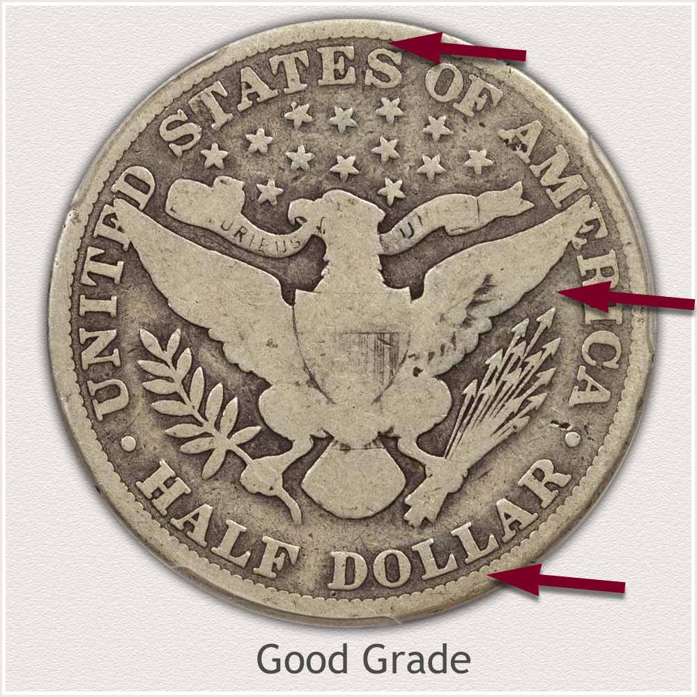 Reverse View: Good Grade Barber Half Dollar