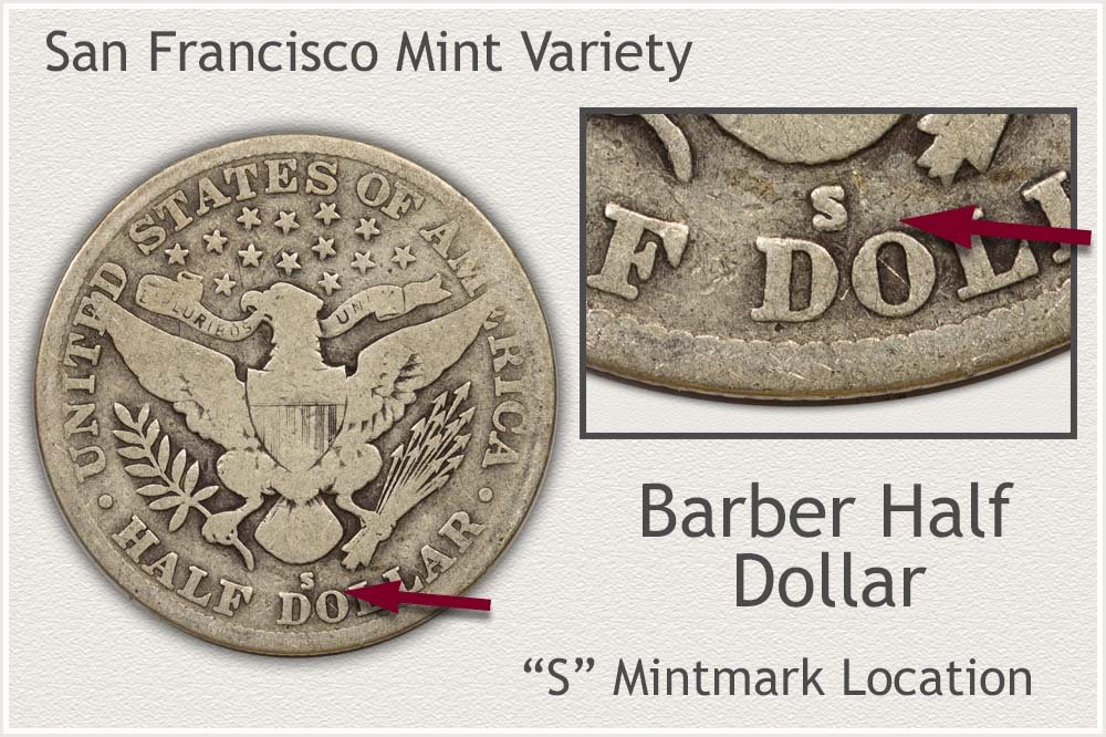 San Francisco Mint Barber Half Dollar