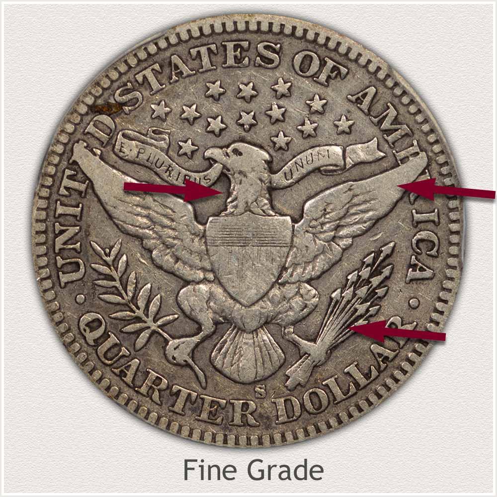 Reverse View: Fine Grade Barber Quarter