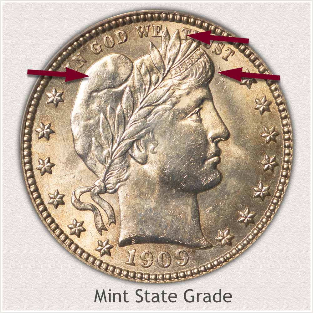 Obverse View: Mint State Grade Barber Quarter