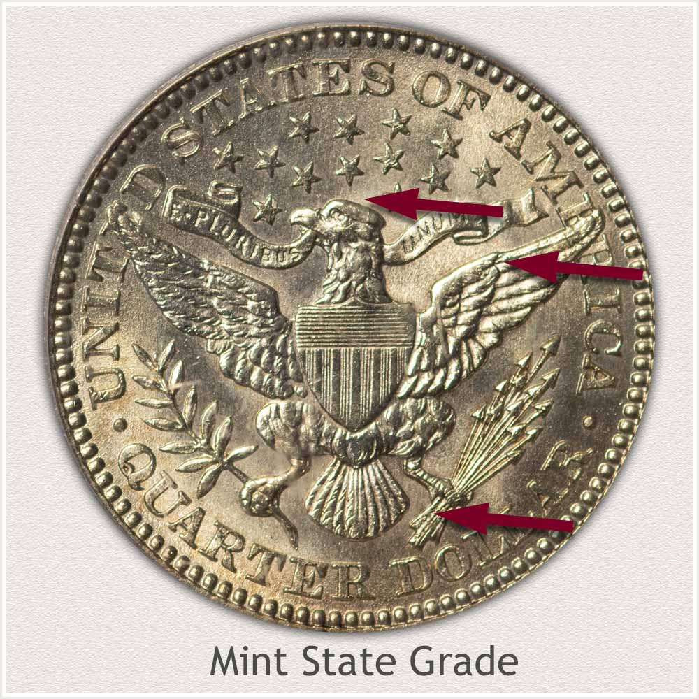 Reverse View: Mint State Grade Barber Quarter