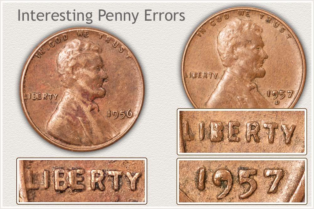 1956 BIE Cent and 1957-D Die Break Cent Examples