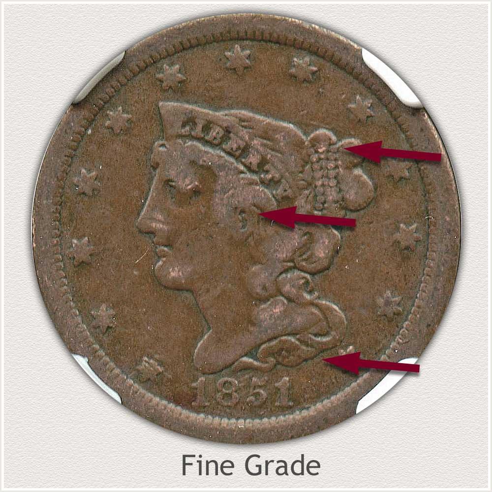 Obverse View: Fine Grade Braided Hair Half Cent