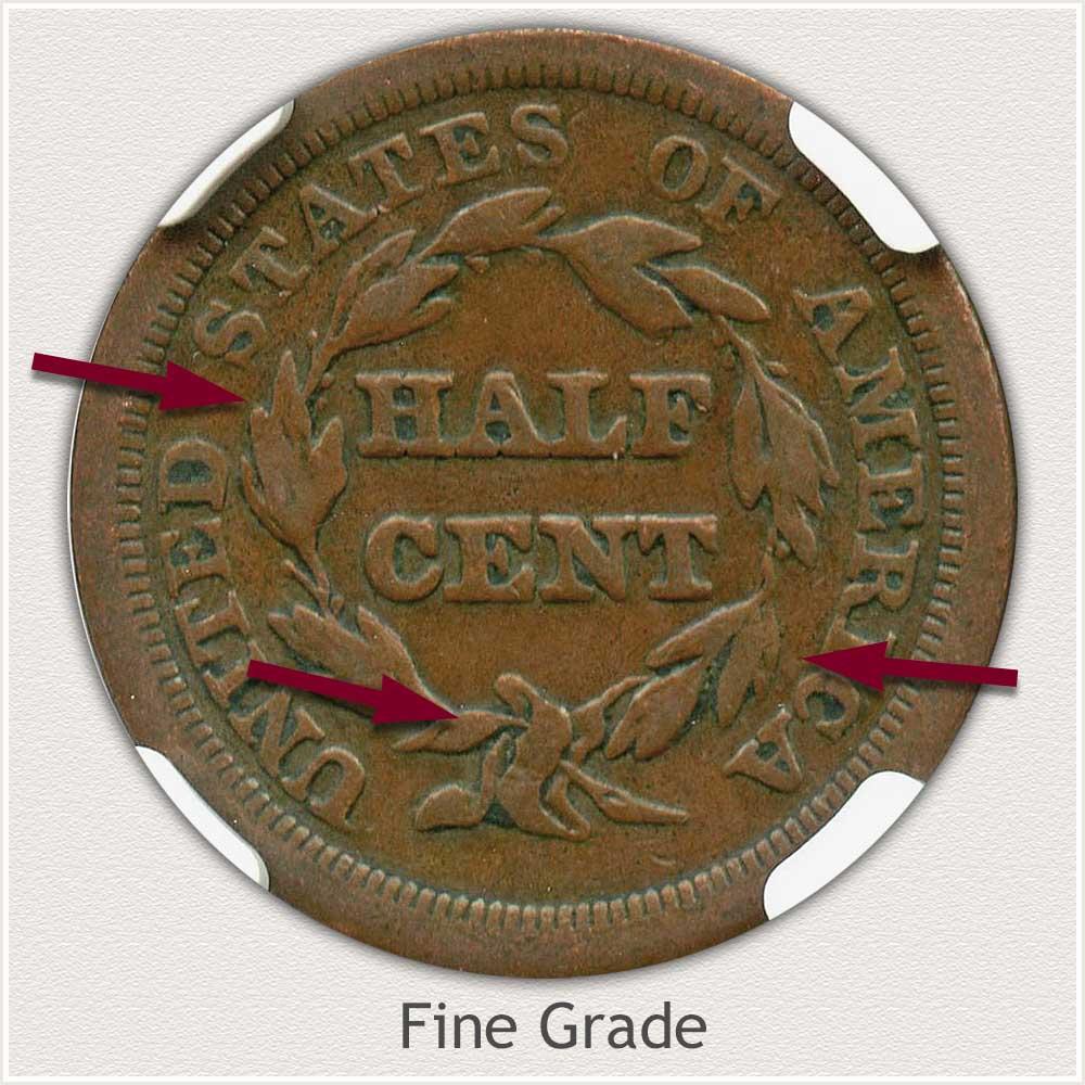 Reverse View: Fine Grade Braided Hair Half Cent