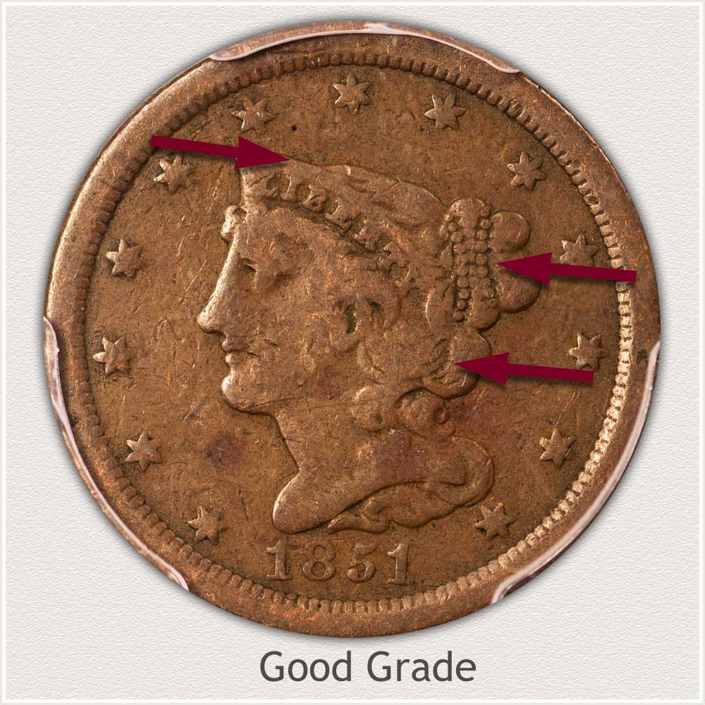 Obverse View: Good Grade Braided Hair Half Cent