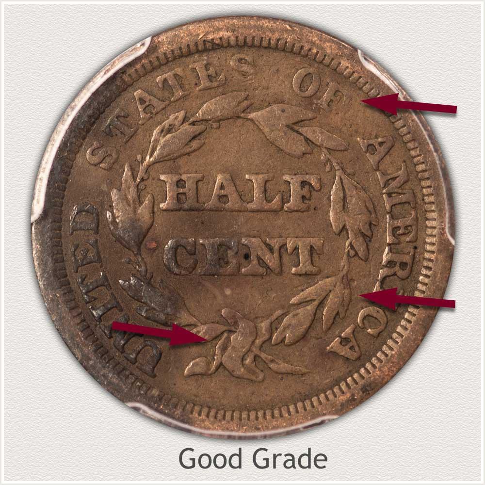 Reverse View: Good Grade Braided Hair Half Cent