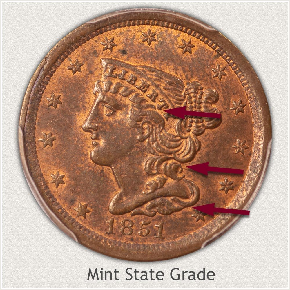 Obverse View: Mint State Grade Braided Hair Half Cent