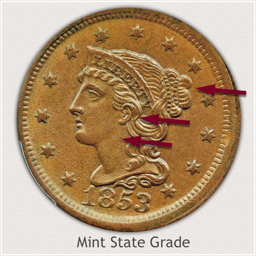 Obverse View: Braided Hair Large Cent in Mint State Grade