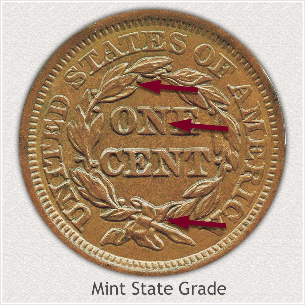 Reverse View: Braided Hair Large Cent in Mint State Grade