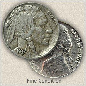 Buffalo and Jefferson Nickel Fine Condition