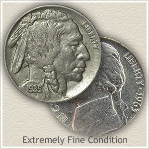 Buffalo and Jefferson Nickel Extremely Fine Condition