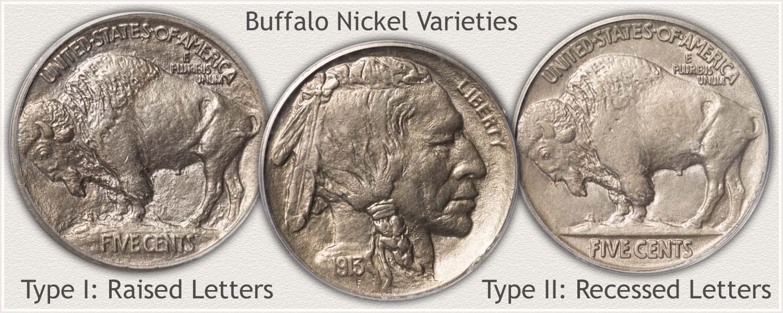 Reverse of Type I and Type II Buffalo Nickel