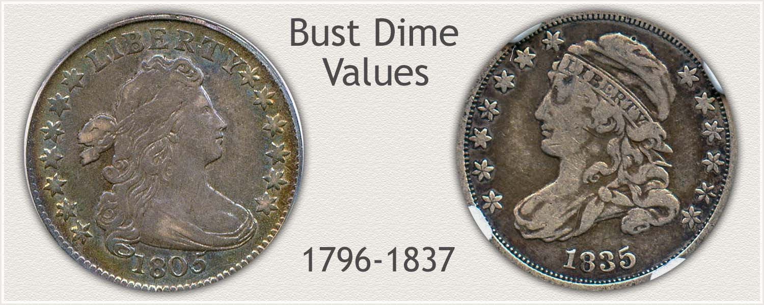 Bust Dime Series: Draped Bust and Capped Bust