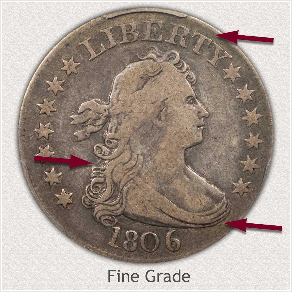 Obverse View: Fine Grade Bust Quarter