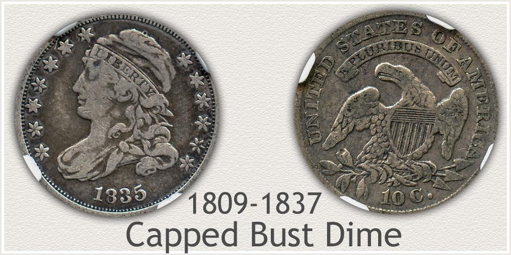 Obverse and Reverse of Capped Bust Dime Variety