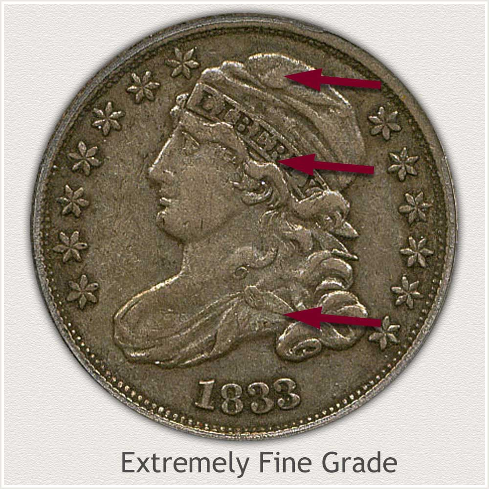 Obverse View: Extremely Fine Grade Capped Bust Dime