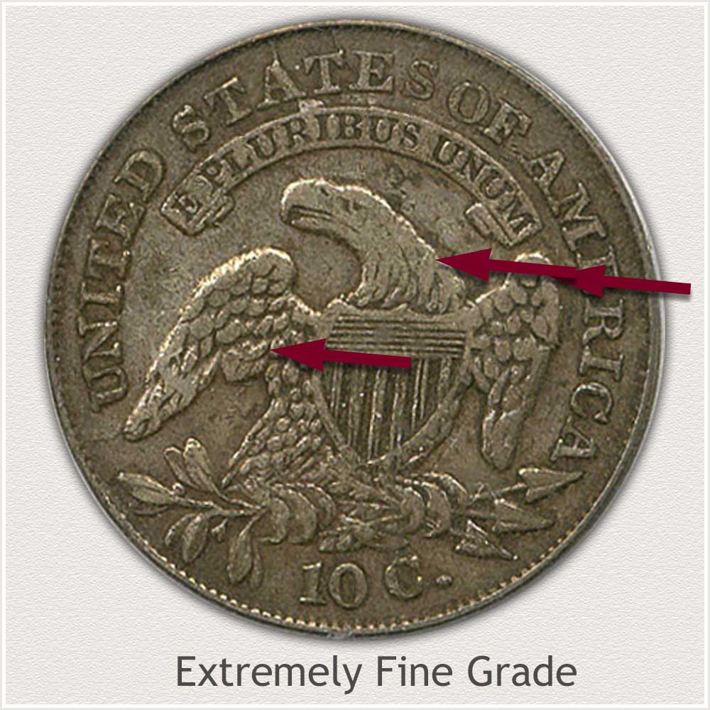 Reverse View: Extremely Fine Grade Capped Bust Dime