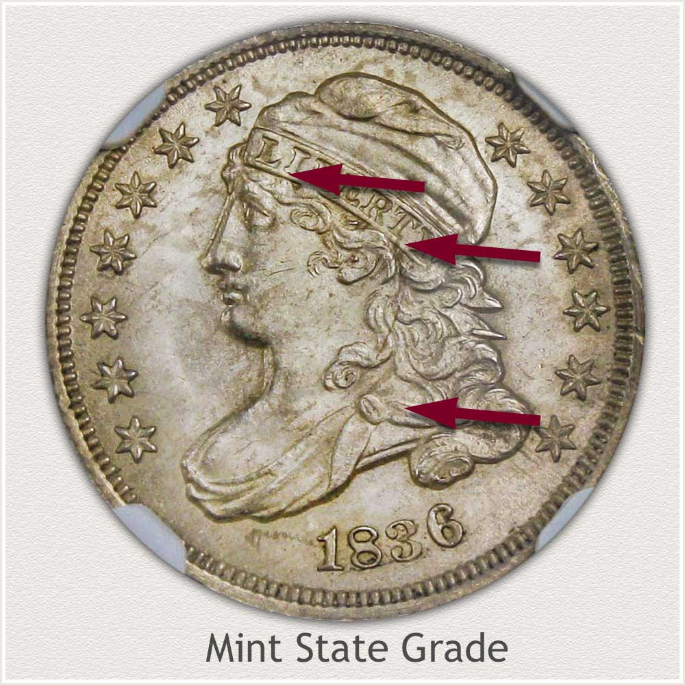Obverse View: Mint State Grade Capped Bust Dime