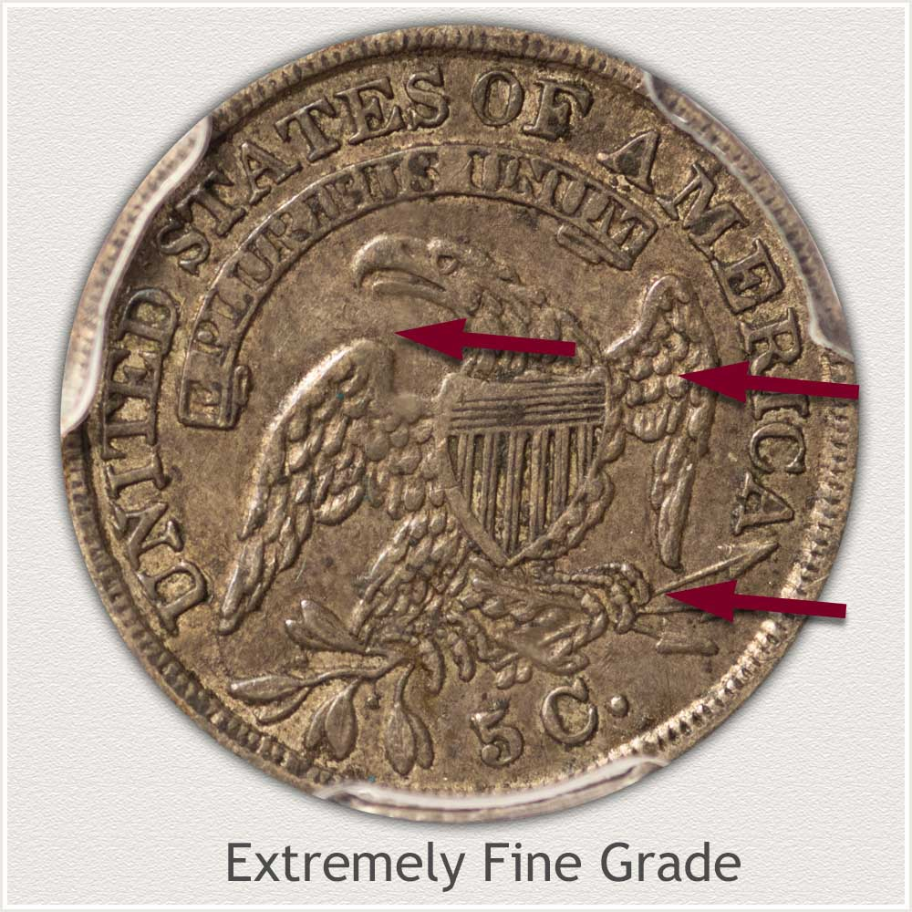 Reverse View: Extremely Fine Grade Capped Bust Half Dime