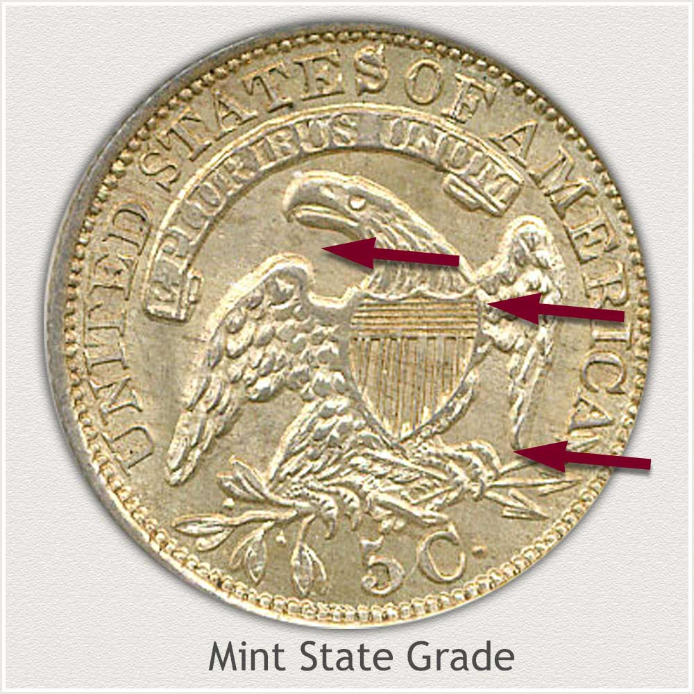 Reverse View: Mint State Grade Capped Bust Half Dime