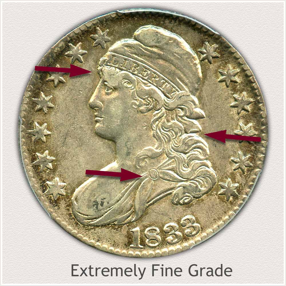 Obverse View: Extremely Fine Grade Capped Bust Half Dollar