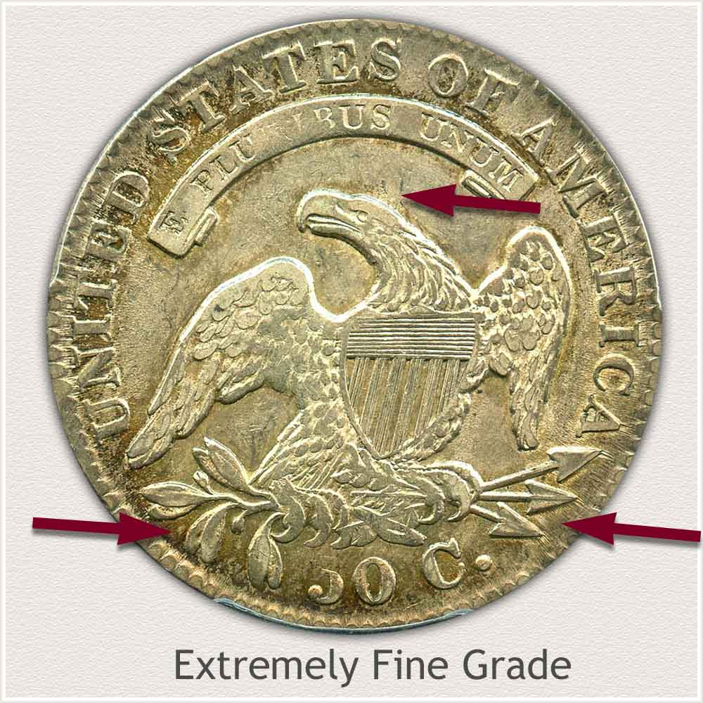 Reverse View: Extremely Fine Grade Capped Bust Half Dollar