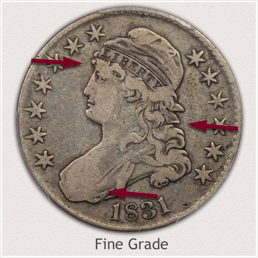 Obverse View: Fine Grade Capped Bust Half Dollar
