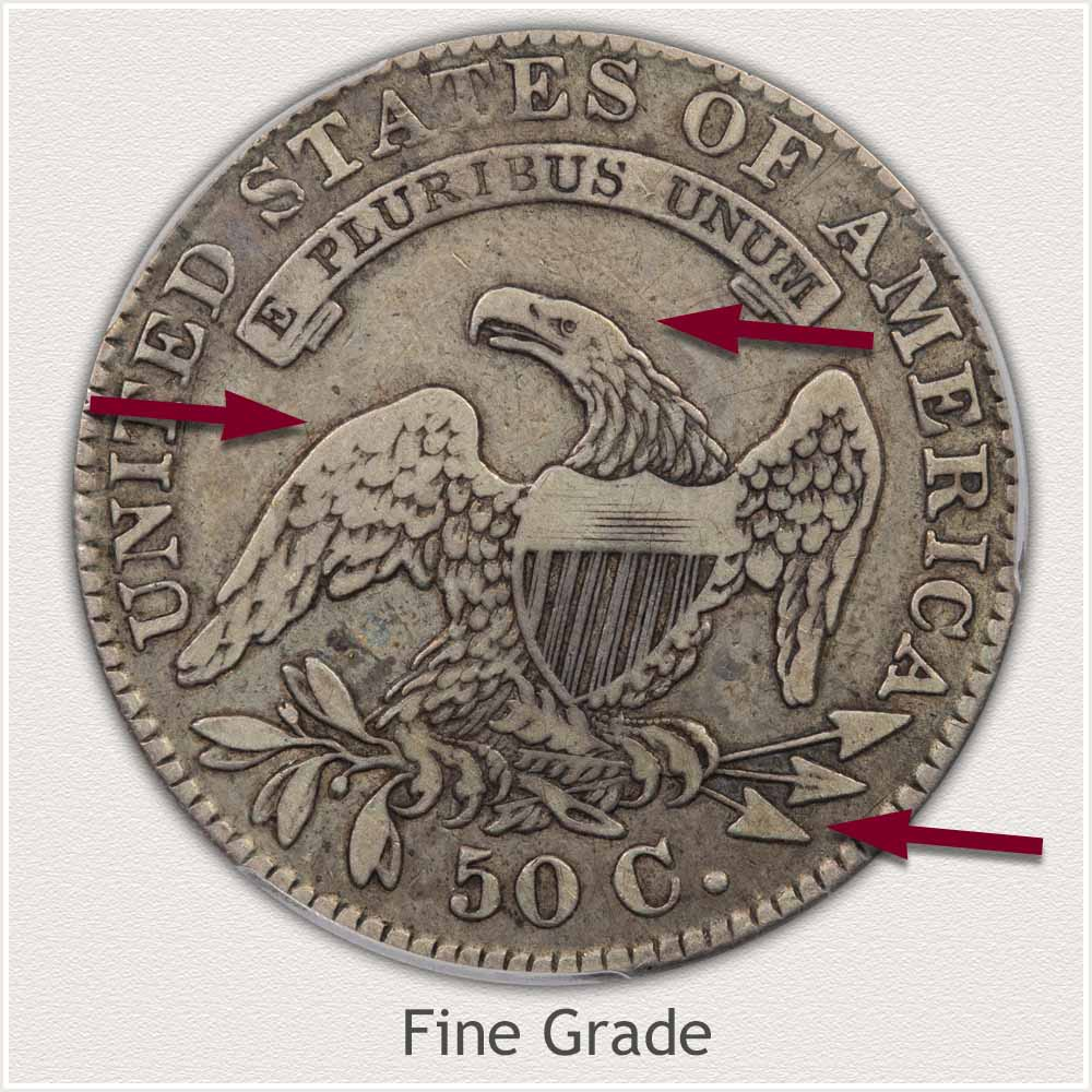 Reverse View: Fine Grade Capped Bust Half Dollar