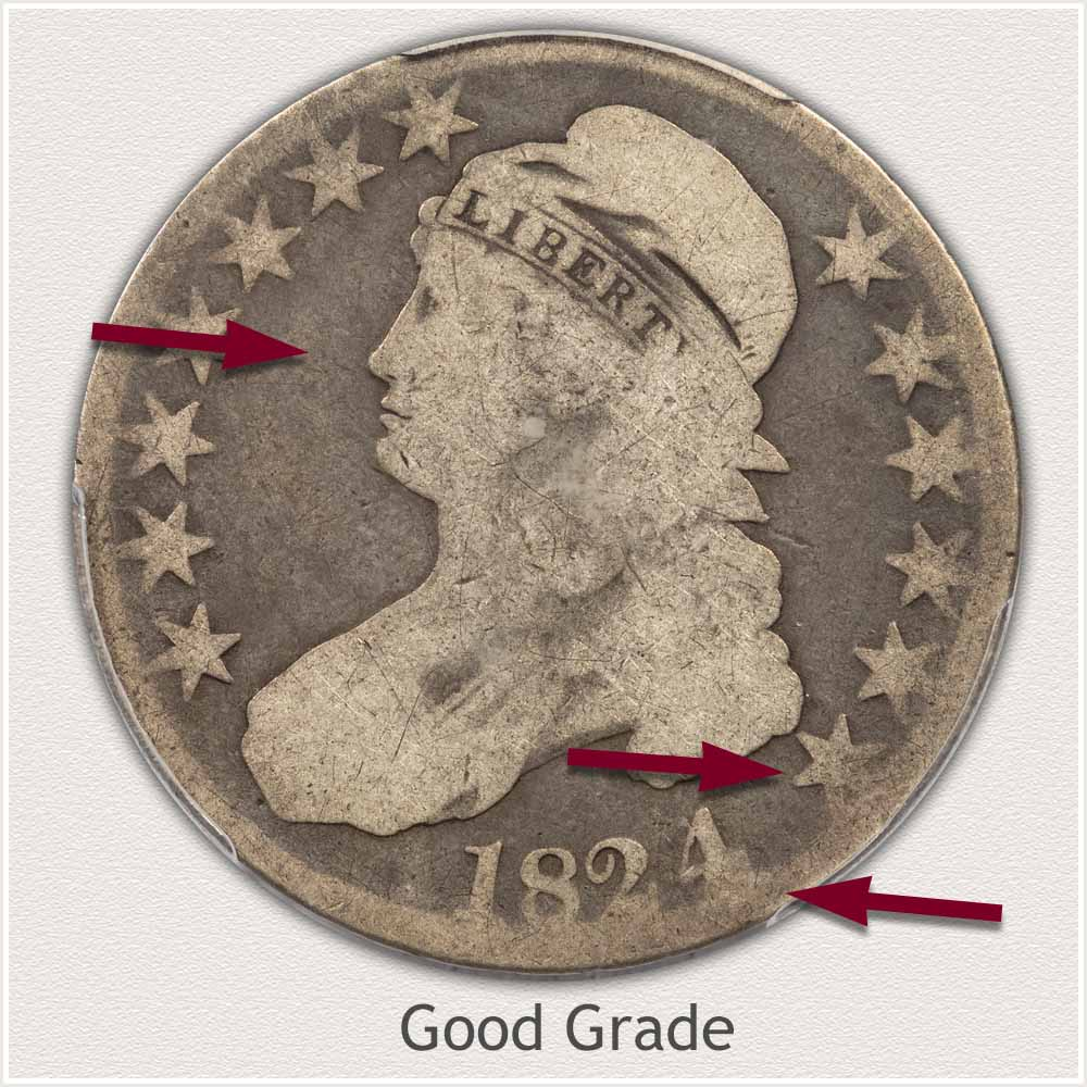 Obverse View: Good Grade Capped Bust Half Dollar