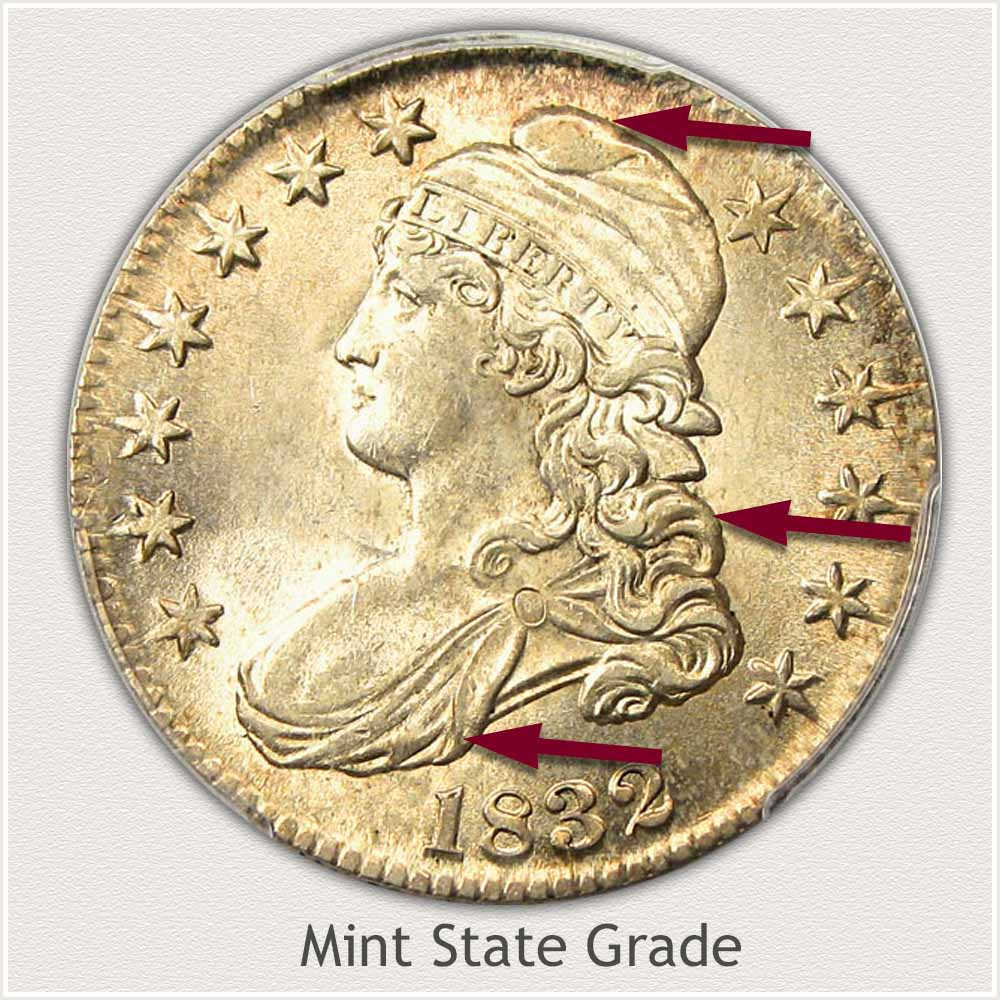Obverse View: Mint State Grade Capped Bust Half Dollar