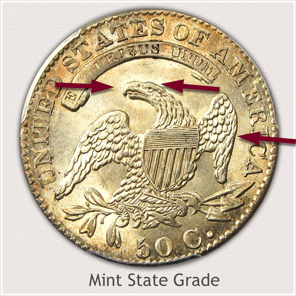 Reverse View: Mint State Grade Capped Bust Half Dollar