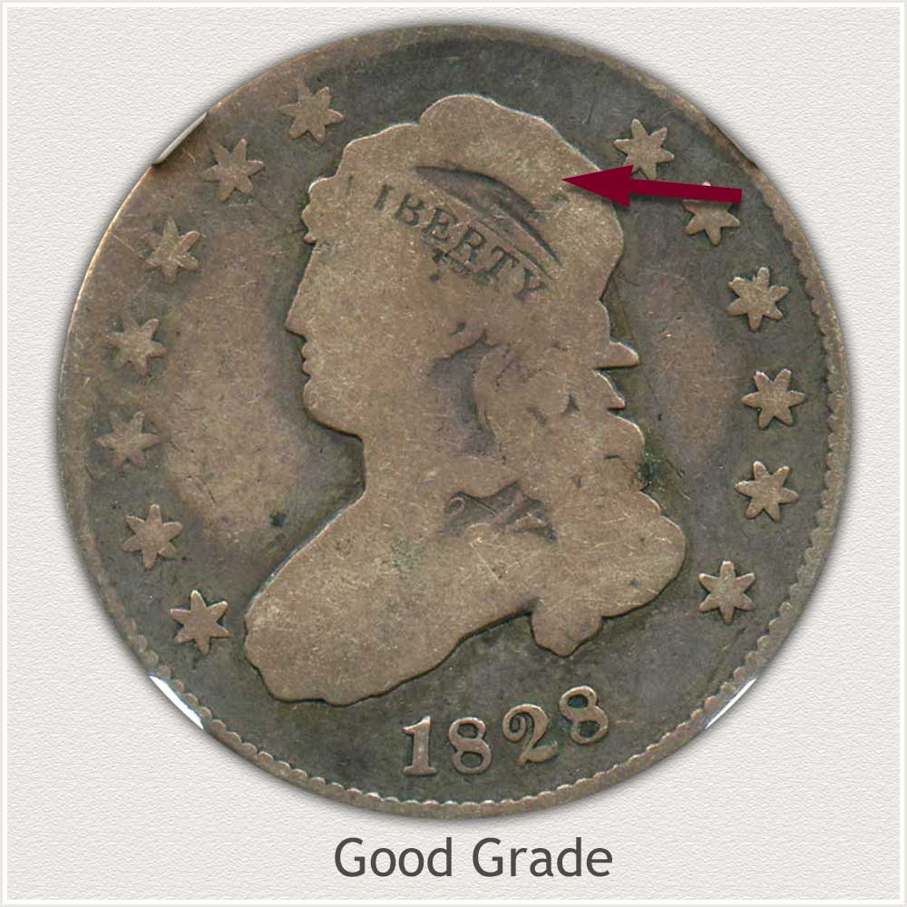 Obverse View: Good Grade Capped Bust Quarter Large Diameter