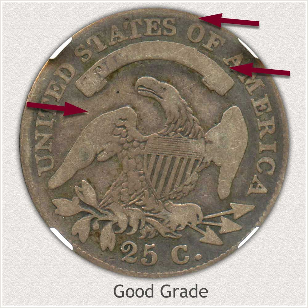 Reverse View: Good Grade Capped Bust Quarter Large Diameter